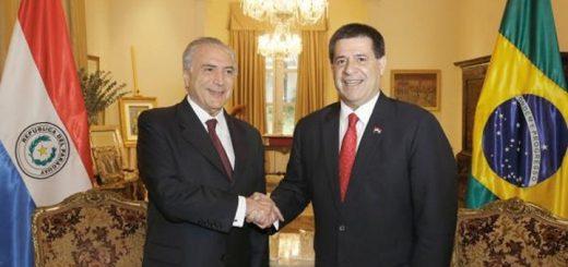 Temer y Cartes firmaron acuerdo de cooperación. Imagen: Presidencia de Paraguay.