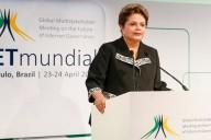 Presidenta Dilma Rousseff durante la ceremonia de apertura de NetMundial. Imagen: Roberto Stuckert Filho/PR.