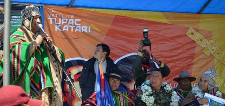 Evo Morales en la inauguración del Telecentro Ulla Ulla. Imagen: Entel