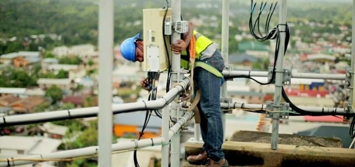 Instalación de la red LTE. Imagen: TSTT