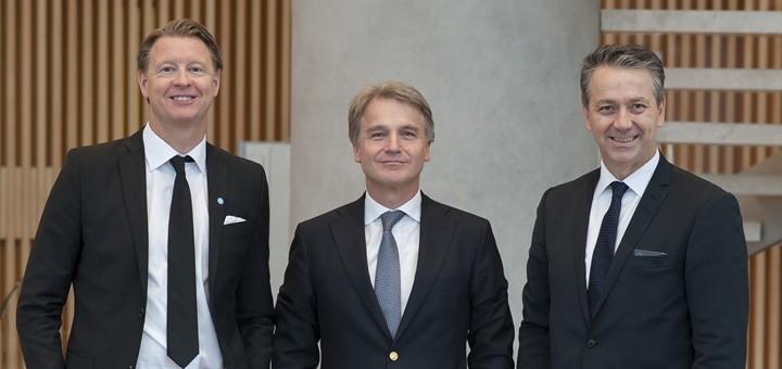 Hans Vestberg, Presidente y CEO de Ericsson; Antonio Büchi, Gerente General de Entel, y Sergio Quiroga, Presidente de Ericsson Latinoamérica. Imagen: Ericsson