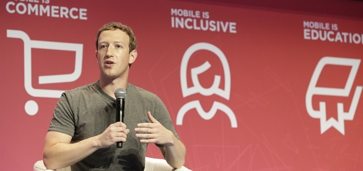 Mark Zuckerberg en MWC16. Imagen: GSMA/MWC