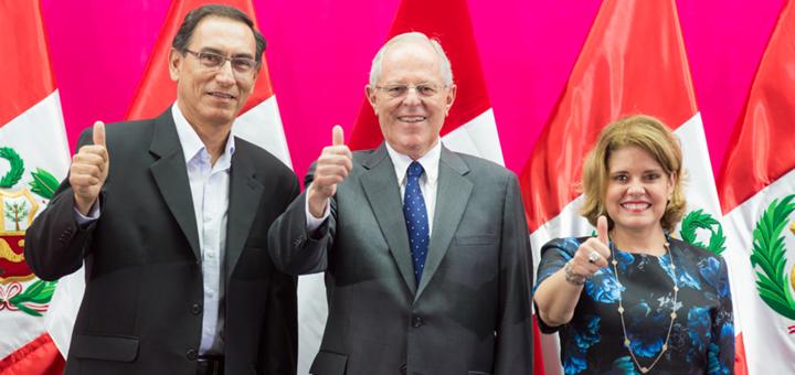 Fórmula presidencial del PPK. Vizcarra (izquierda), Kuczynsk (centro) y Aráoz —vicepresidente segundo — (derecha) Imagen: martinvizcarra.com
