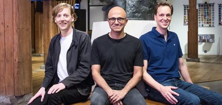 Chris Wanstrath, CEO y cofundador de Github; Satya Nadella, CEO de Microsoft y Nat Friedman, vicepresidente corporativo de Microsoft Developer Services. Imagen: Microsoft.