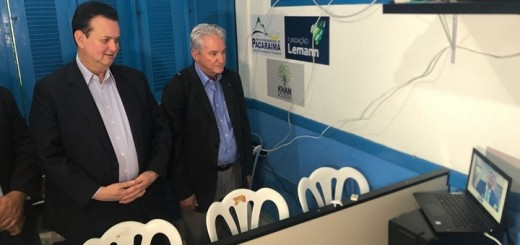 Kassab y Valente dialogaron por teleconferencia con el ministro de Defensa, Joaquim Silva e Luna. Imagen: Telebras.
