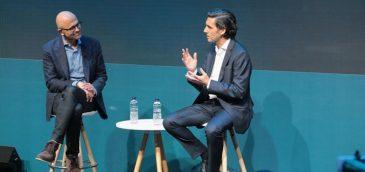 Satya Nadella, CEO de Microsoft, y José María Álvarez-Pallete, presidente ejecutivo de Telefónica. Imagen: Telefónica